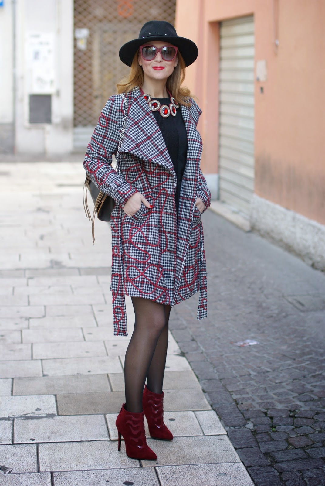 Smash! Moneton tartan jacket worn with Studded fedora hat and stiletto ankle boots, Fashion and Cookies, fashion blogger