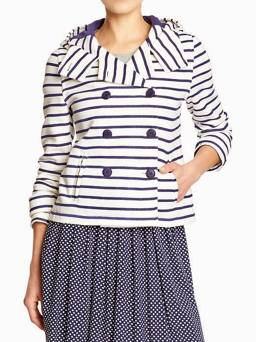 nautical striped hooded fleece peacoat old navy