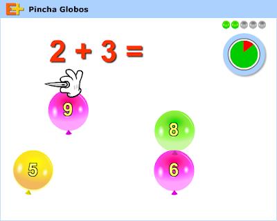 Pincha globos,cálculo,suma,matemáticas,operaciones,suma
