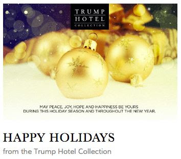 card from Trump Hotel saying 'Happy Holidays'