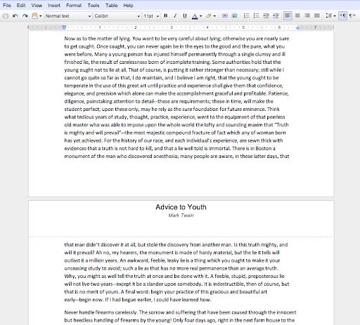 Novedades en Google Docs: vista modo página e impresión web