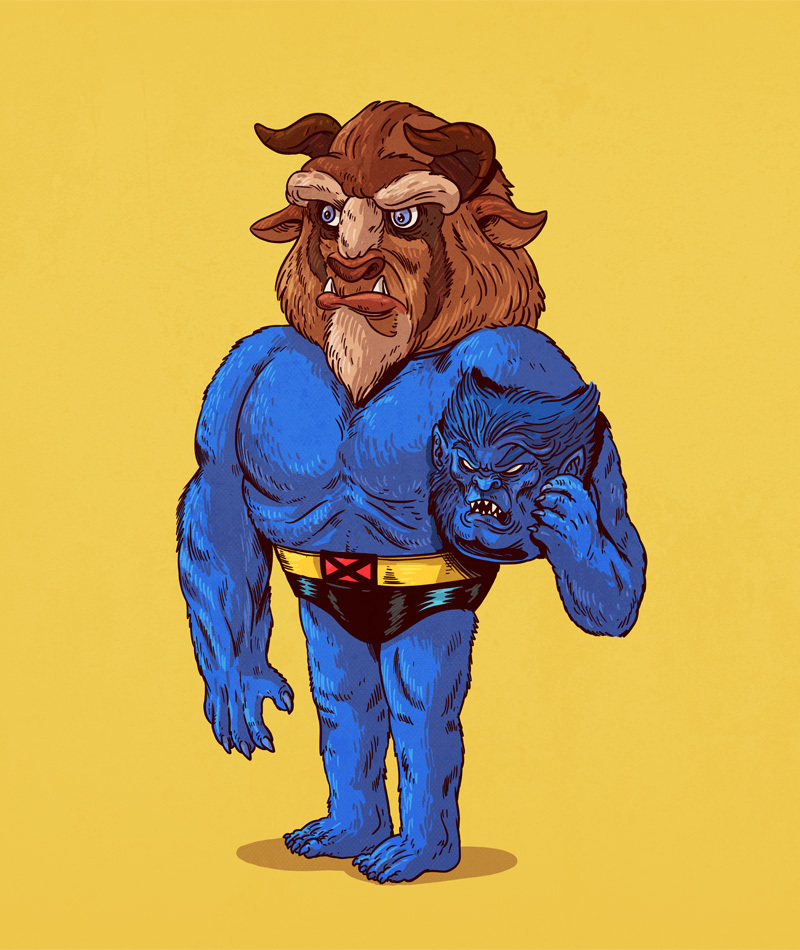 12-Beast-X-Men-and-Beast-Beauty-and-the-Beast-Alex-Solis-Illustrations-of-Icons-Unmasked-www-designstack-co