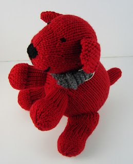 knit dog puppy toy red
