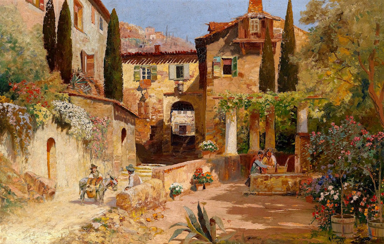 Alois Arnegger (1879-1963) - Scene from a Small Italian Town
