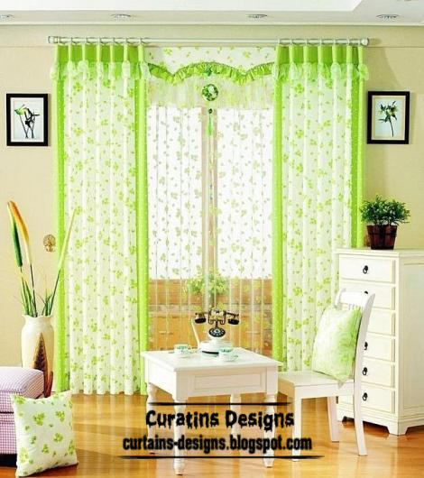 Unique Green Curtain Design With Valance