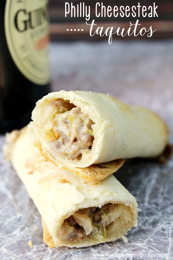 These Philly Cheesesteak Taquitos are an easy and delicious finger food, perfect for game watching or a weeknight dinner! Just like the classic Philly Cheesesteak sandwich, but more fun and portable in a taquito. #StackandSnap