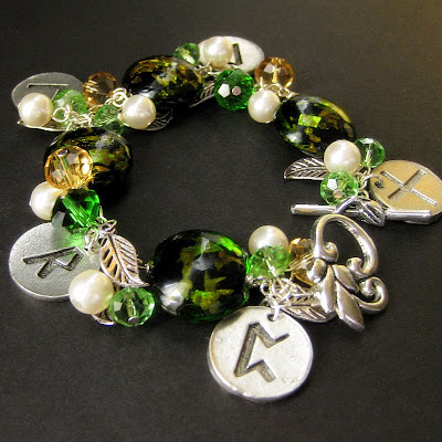 Forest Green Rune Charm Bracelet with Lampwork Glass