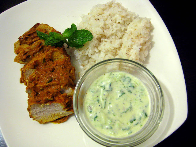 Food Tastes Yummy: TANDOORI PORK TENDERLOIN WITH CUCUMBER & MINT RAITA