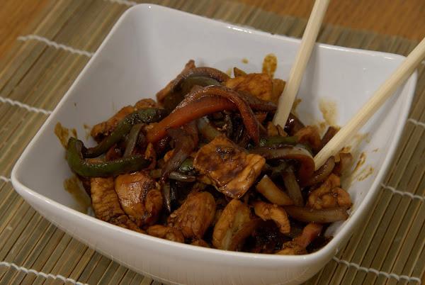 wok de pollo con soja naranja y s samo