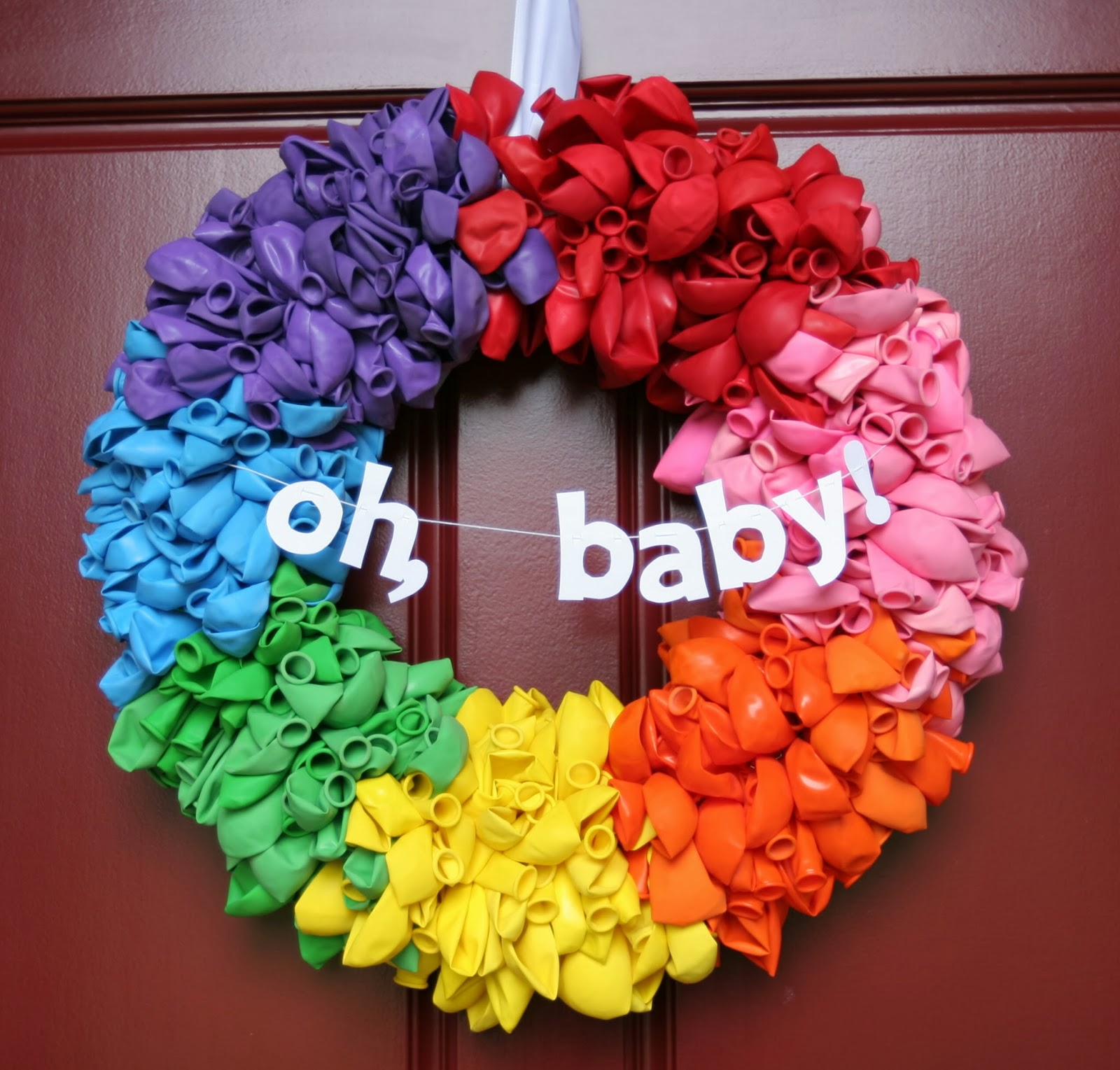 I Gave New Life To The Rainbow Balloon Wreath With A Little White Paper  Banner.