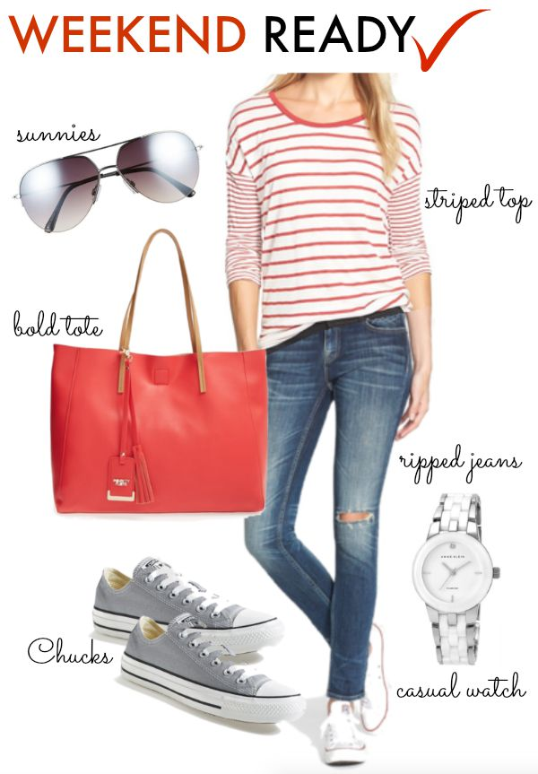 Fall Fashion - weekend casual outfit with striped top, distressed jeans and converse sneakers