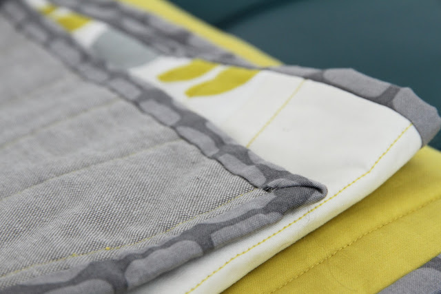 striking modern navy, citron, and grey quilt | by Lovely and Enough