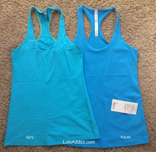 lululemon kayak-ocean color-comparison cool-racerback