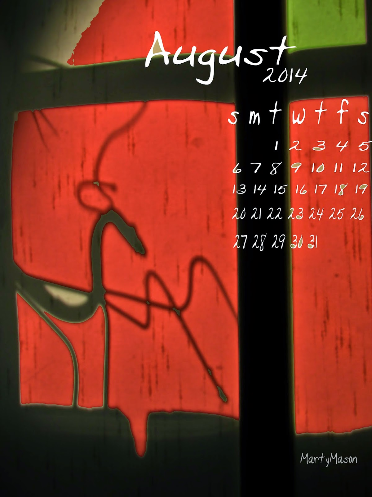 Praying Mantis, August, 2014, calendar....all by Marty Mason
