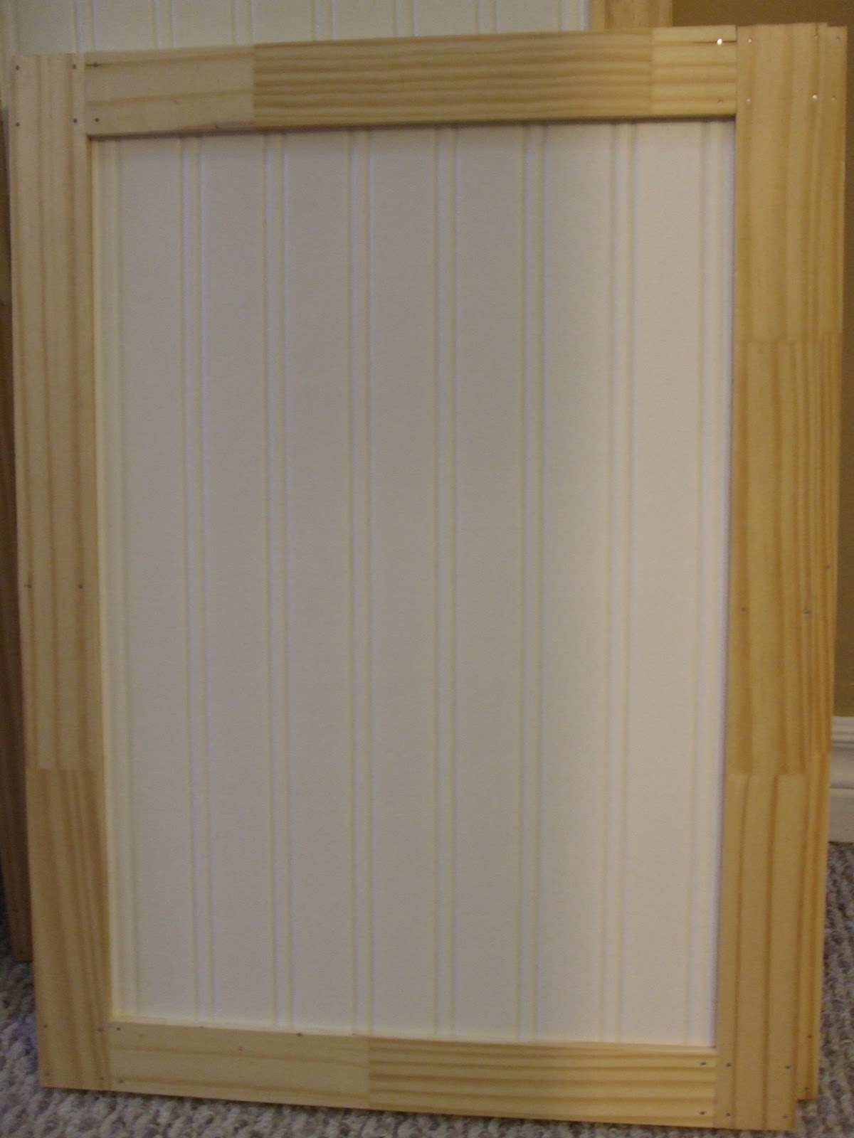 Simply chic treasures kitchen cabinet makeover part 2 for Add beadboard to kitchen cabinets