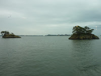 Matsushima pine islands on a cloudy day from cruise boat
