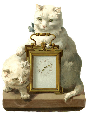 Fantastic Vintage Image - Clock with Cats