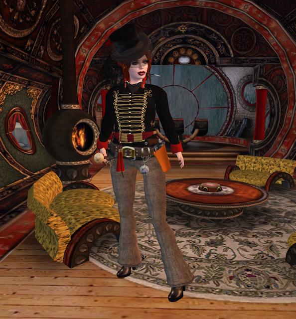 Steampunk airship pilot
