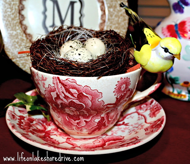 vintage cup and saucer, bird's nest, English Chippendale