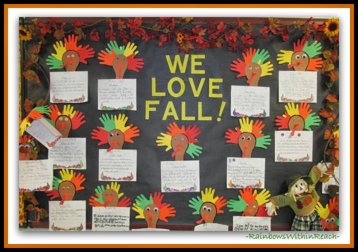 Fall Bulletin Board with Turkey Hand Prints ~~ HANDS RoundUP at RainbowsWithinReach