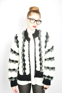 Vintage 1980's black, grey and white shaggy pom pom cardigan sweater.