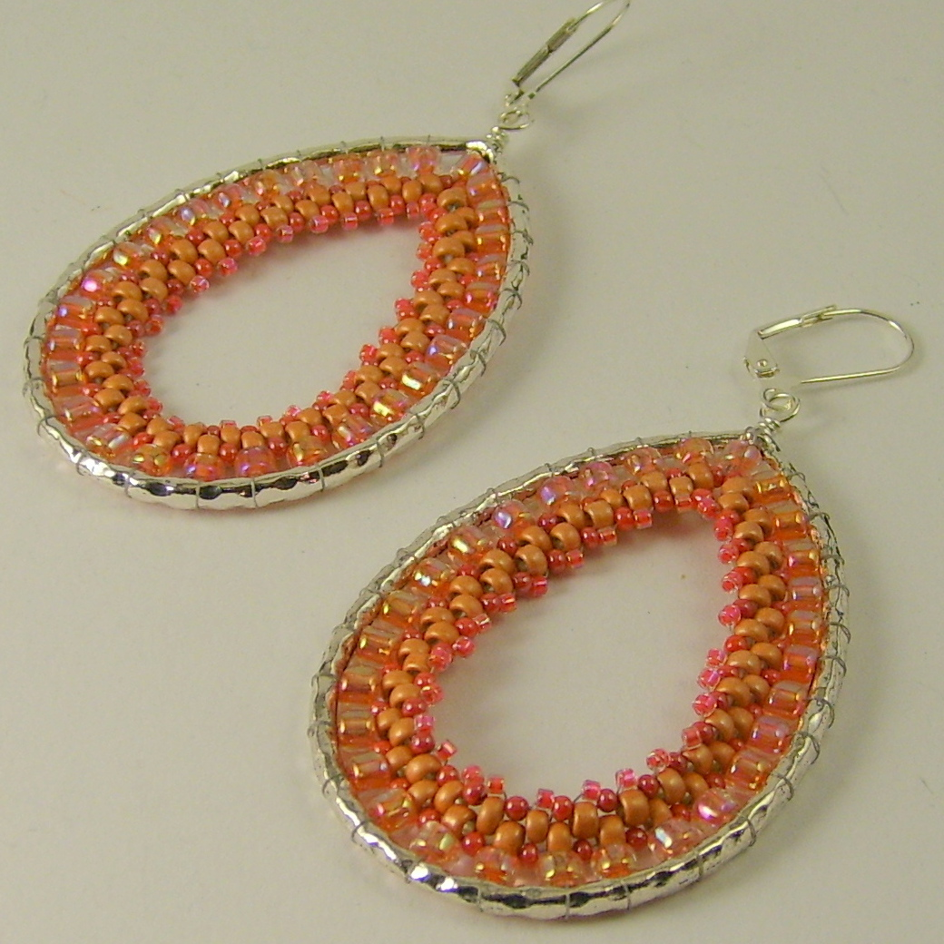 brick zeige earrings dangly stitch hoop