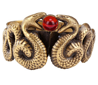 Vintage 1940's gold snake cuff bracelet with red gripoix stone in the center