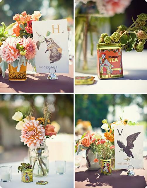 vía:www.diariodelanovia.com. Latas vibtage. Flores. We Boho