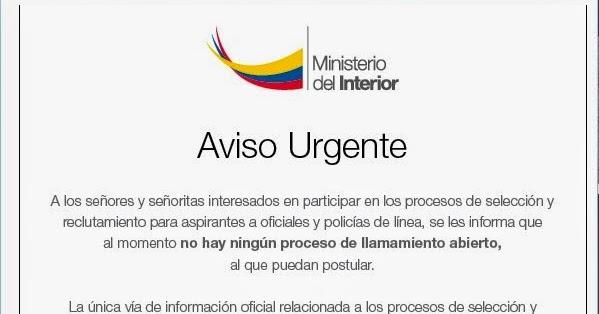 Fuerzas militares aviso urgente sitio web de for Web ministerio del interior