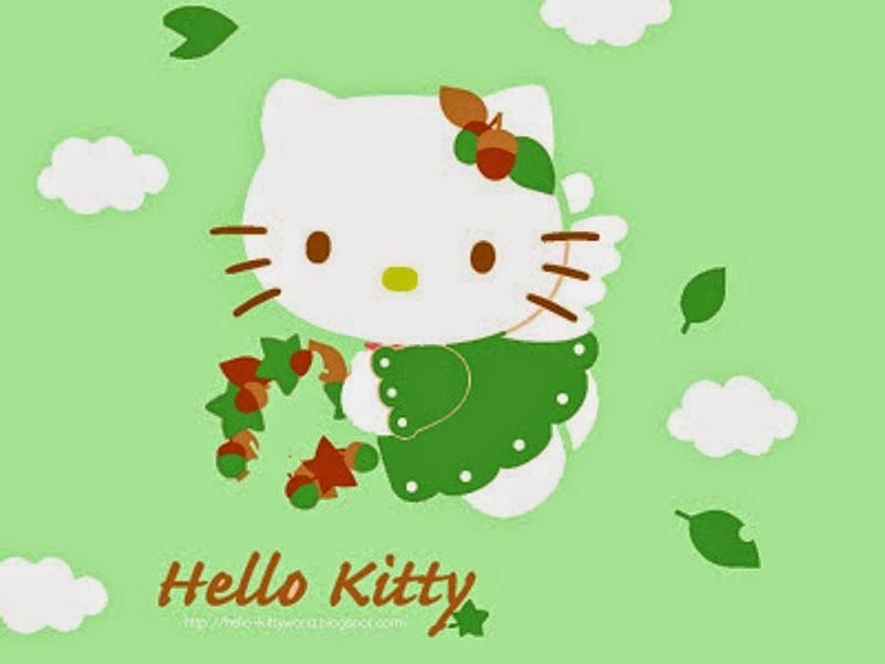 Gratis download gambar wallpaper Hello Kitty hijau