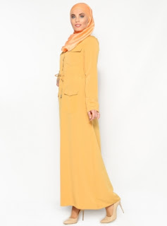 Dress muslim warna polos orange