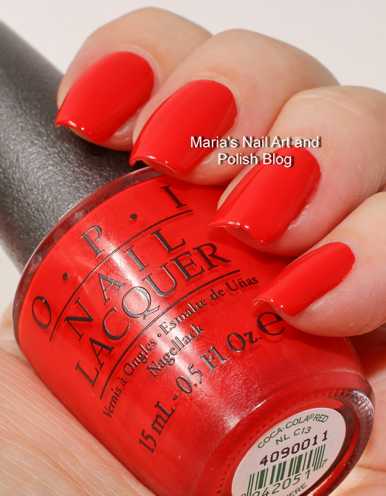 Marias nail art and polish blog opi coca cocla collection coca cola red is a beautiful bright and bold red cream it is easy to work with and very opaque in one coat but here you see two coats prinsesfo Gallery