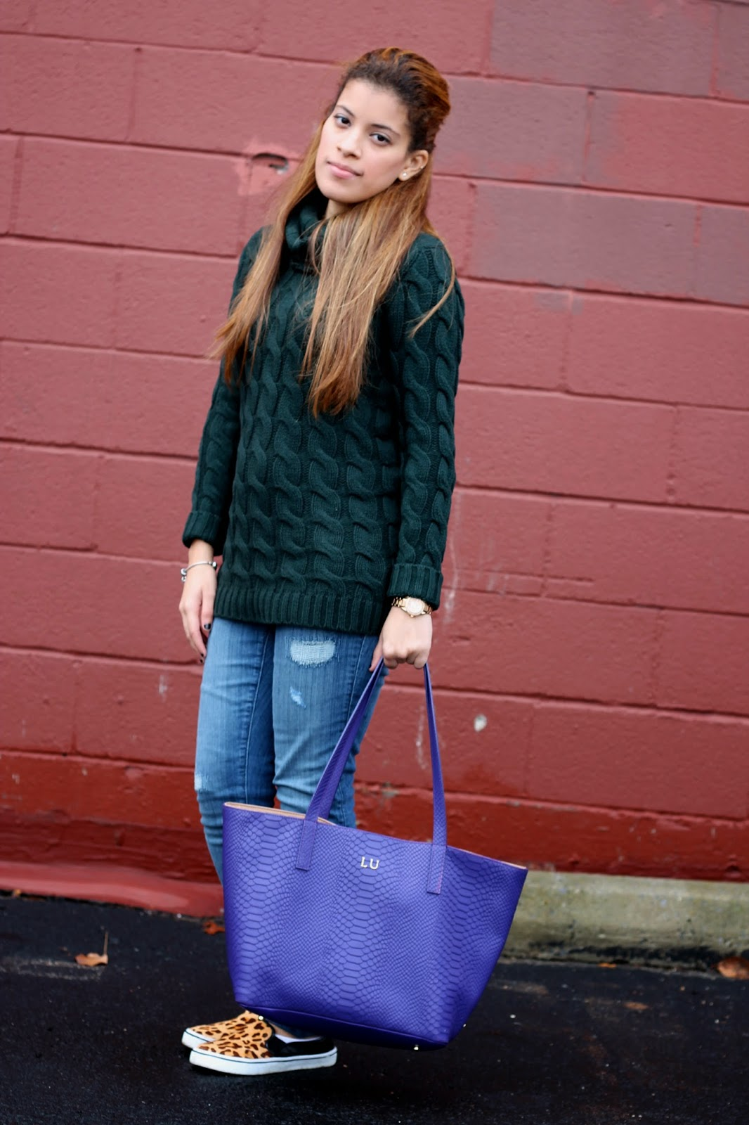 cable knit turtleneck sweater, cable knit, sweater, turtleneck, gigi newyork, teddie tote, embossed python, purple, green, fossil, nordstrom rack, nordstrom, leopard, slip on sneakers, dolce vita, dv, forever 21, fall, winter, fashion, style, woman, women