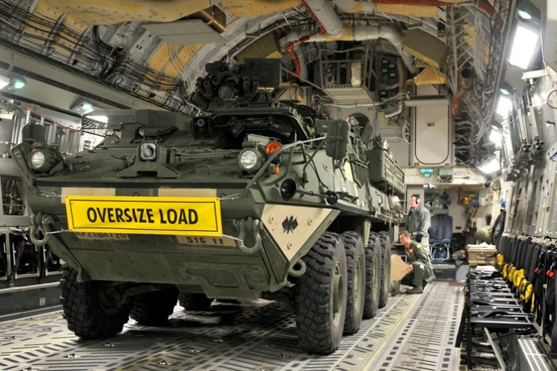 Exercise transporting Strykers in C-17s shows benefits of joint base