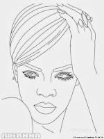 Mewarnai Gambar Penyanyi Rihanna