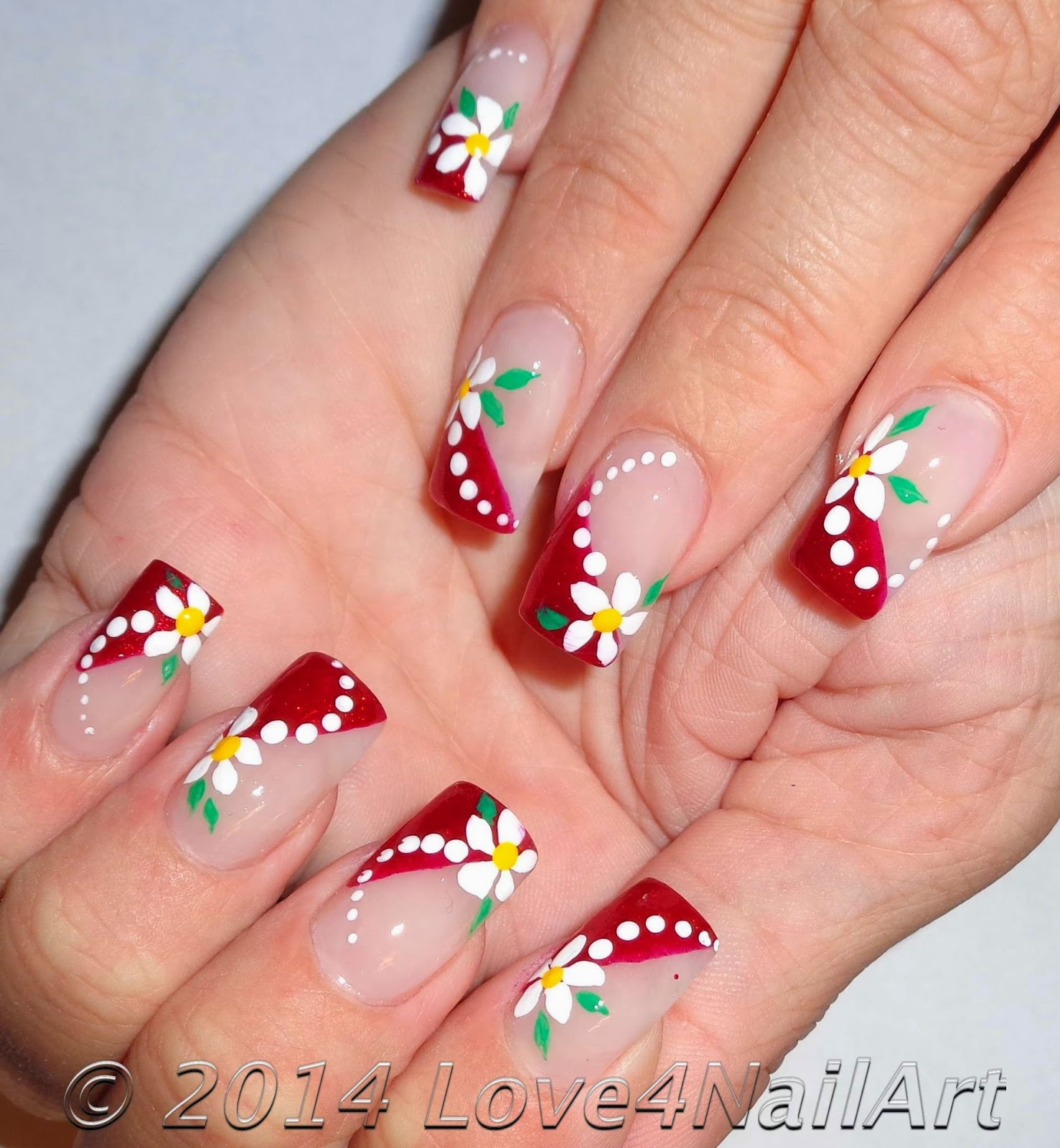 Red Glitter French With Fl Nail Art