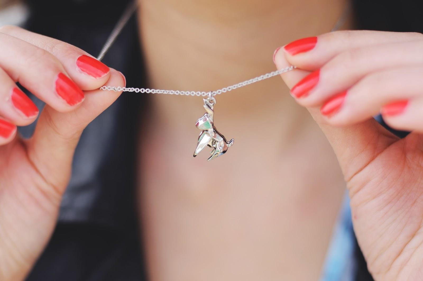 Quirky jewellery, origami jewellery, rabbit jewellery