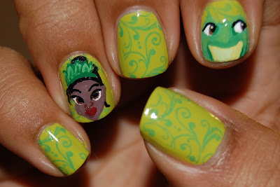 princess and the frog nails, princess tiana nails