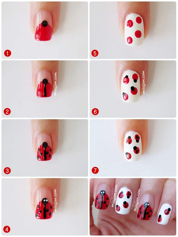 As much as I don't like bugs, ladybugs prints on nails are very much  acceptable, fun and cute. I did two versions of ladybug nail art, one was  one ladybug ... - MissJJan's Beauty Blog ♥: Ladybug Nail Art