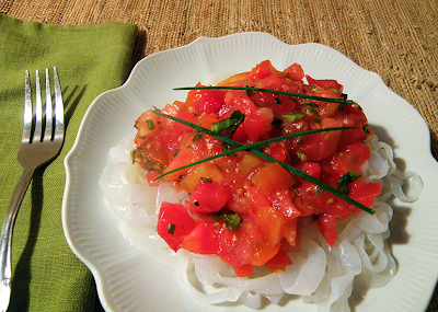 Plate of Shiritaki noodles with Fresh Tomato Sauce