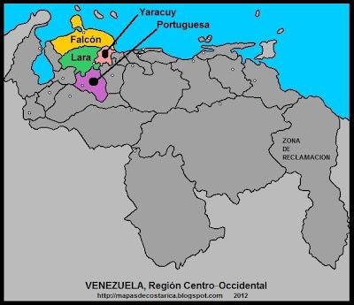 Región Centro‑Occidental, Mapa de las Regiones politico-administrativas de VENEZUELA