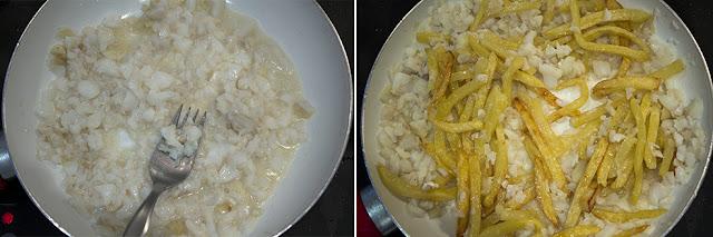 Desmenuzar y añadir las patatas