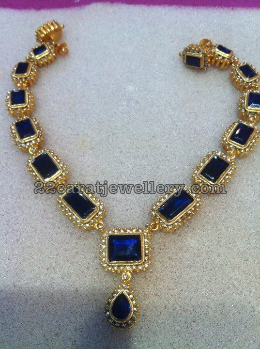 Blue Sapphires Nd Uncuts Necklace Jewellery Designs
