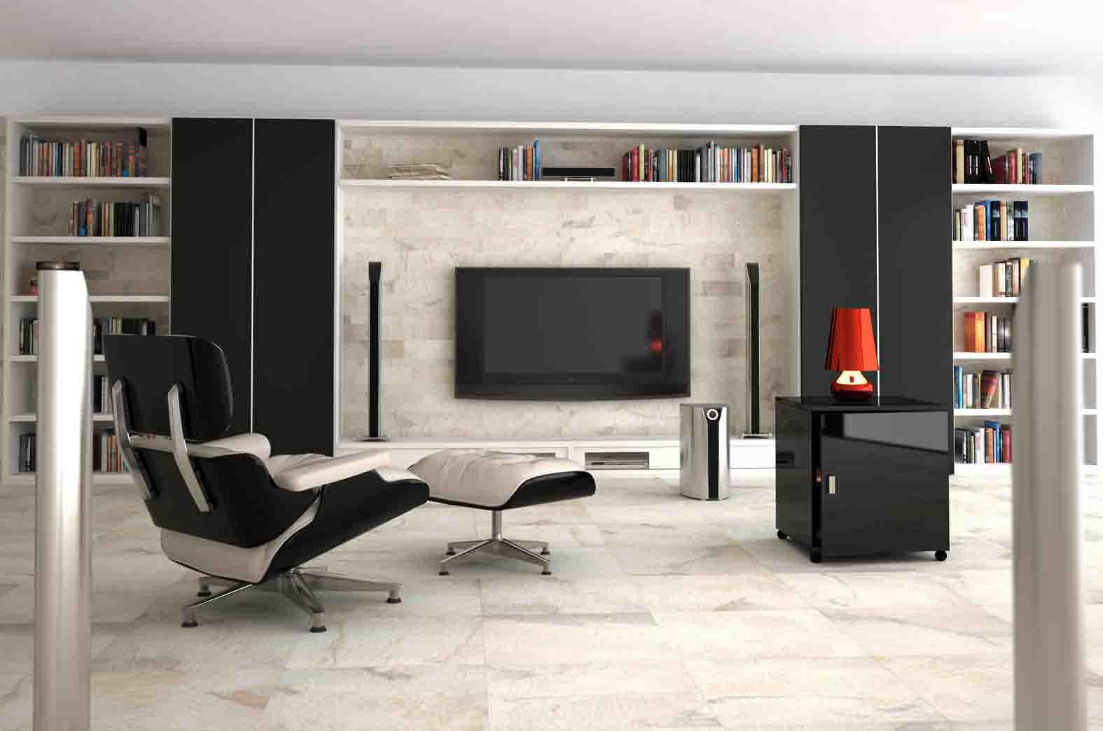 Decora o 30 salas com porcelanato e piso cer mico for White tiled living room designs