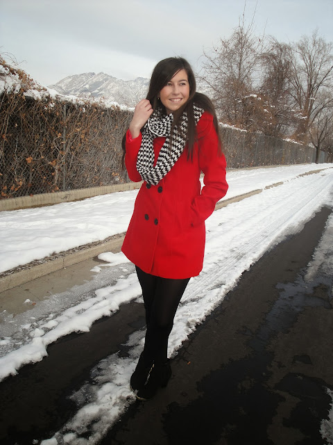 cold, ILY COUTURE, ilycouture, ootd, pop of color, red coat, snow, outfit, chevron scarf, pop of color, pop of chevron, ankle booties, booties, pretty,