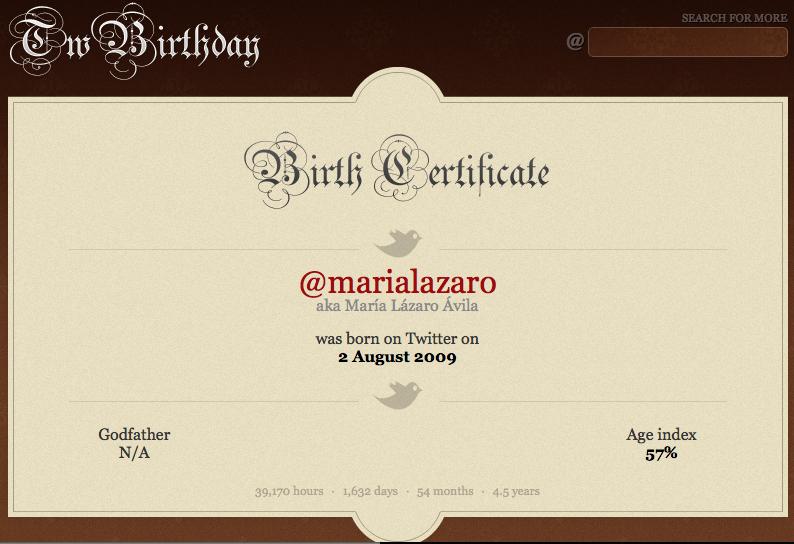 Certificado TwBirthday de nacimiento en Twitter