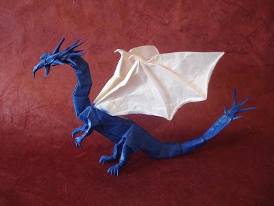 Origami dragão azul