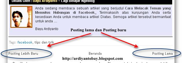 Mengganti Nextprev dengan Judul Posting