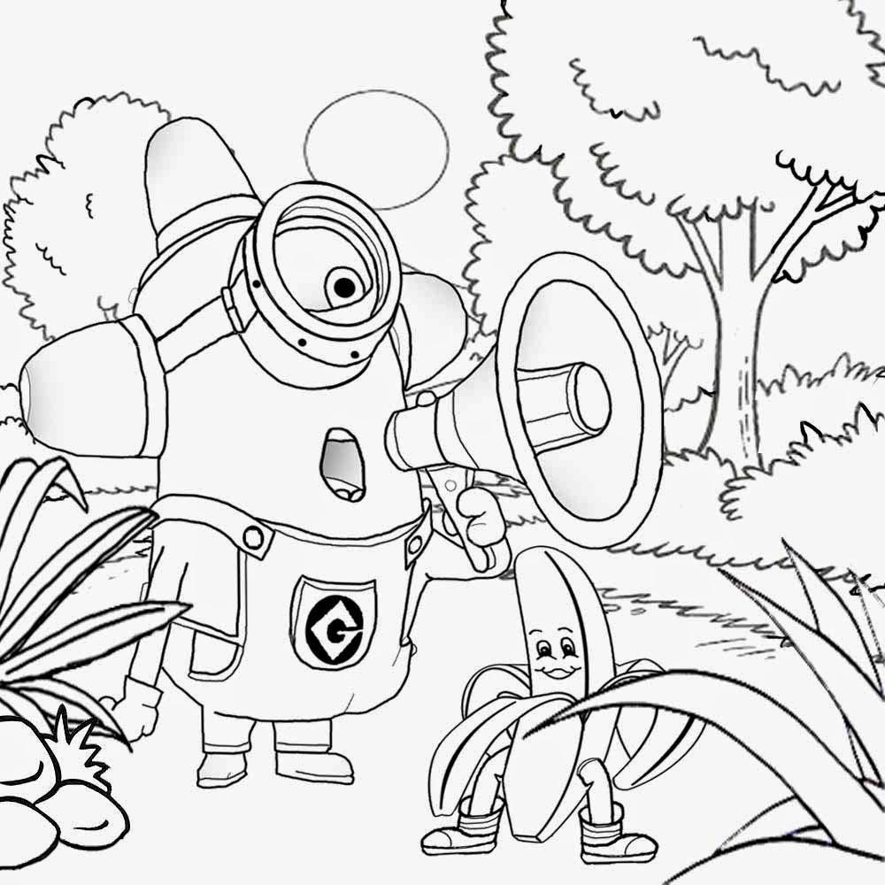 Coloring games online minion - Free Kids Stuff Funny Cartoon Drawing Of Banana Man With One Eyed Minion Coloring Pages To