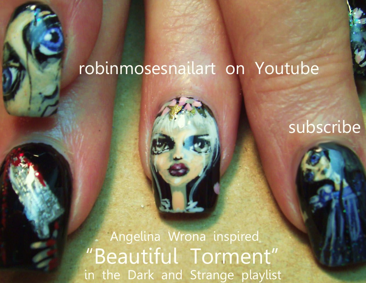 Robin moses nail art gothic nail art cute halloween nails gothic nail art cute halloween nails halloween nail art scary doll nail art angelina wrona inspired nail art black and red nail art scary nail prinsesfo Image collections